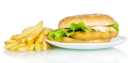 pomme: Hamburger with french fries isolated on white background.