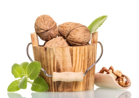 Walnuts in a wooden bucket of crude and refined in the scoop isolated on white background.