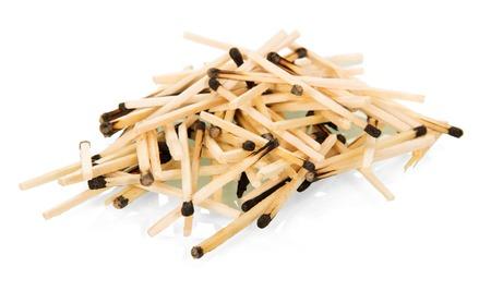 Many burnt matches isolated on white background.