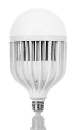 e27: Energy-saving LED light bulb isolated on white background. Stock Photo