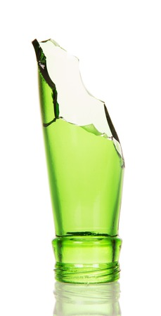 Repulsed the neck of green bottle isolated on white background. Stock Photo