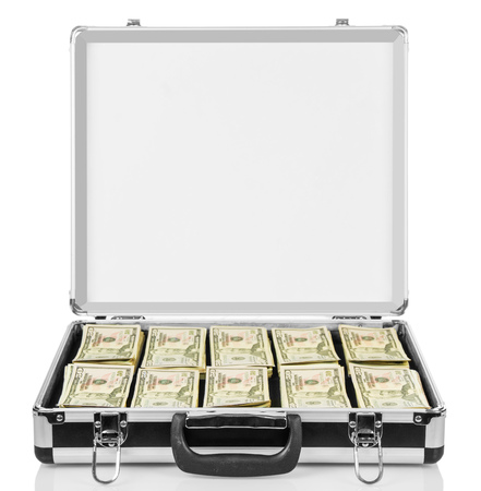 open suitcase: Open suitcase with dollars isolated on white background. Stock Photo