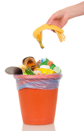 crushed cans: The female hand puts a banana peel in a bucket of household waste isolated on white background.
