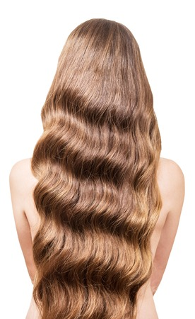 permanent wave: Beautiful, flowing long wavy hair on the back of a young girl. Isolated on white background.