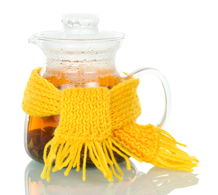 Jug with strong hot tea isolated on white background