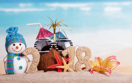새해 비문 2018, 0 호 대신에 빨대와 코코넛, 선글라스, 눈사람, 불가사리와 모래에 꽃.