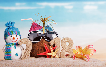 New Year inscription 2018, coconut with straws instead of the number 0 and sunglasses, snowman, starfish and flower on the sand. Foto de archivo