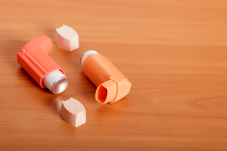 Device for inhalation with a dispenser on the table Stock Photo