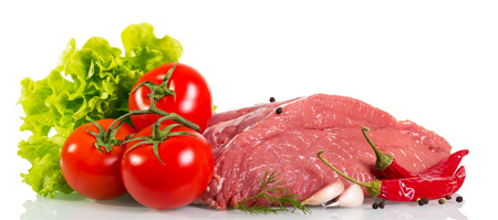 Piece of raw beef, tomato, mushrooms, lettuce, dill, garlic and pepper isolated on white background.