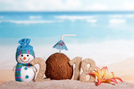 New Year inscription 2018, coconut with drinking straw and umbrella instead of the number 0, a snowman, a flower in the sand on the beach.