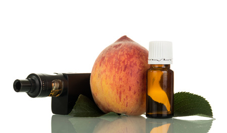 Electronic cigarette and bottle with liquid for wipe-smoking, with the smell of peaches, isolated on white background