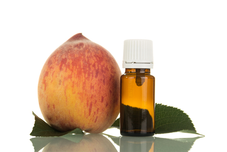 odorous: Fluid for smoking with fruit aroma and ripe peach isolated on white background