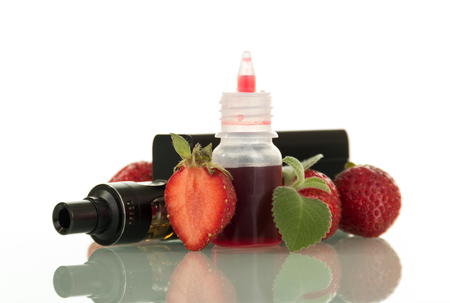 Adaptation for smoking and liquid with fresh berry taste isolated on white background