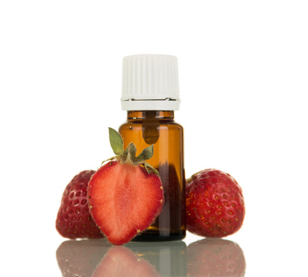 Liquid for electronic cigarette with strawberry flavor isolated on white background