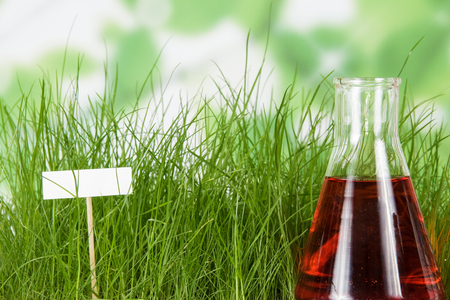 Flask with liquid fertilizer on background of green grass and blank card