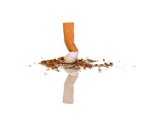 Stub out cigarette, beside scattered tobacco crumbs, isolated on white Stock Photo