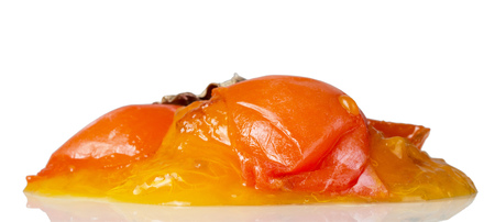 Spoiled fruit, rotten persimmon fruit, isolated on white Stock Photo