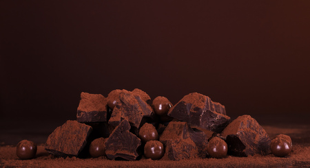 Composition of pieces of dark chocolate and a round of chocolates in cocoa powder on a brown background