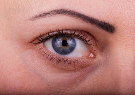 Closeup macro portrait of female face. Human woman eye with day beauty makeup and long natural eyelashes 版權商用圖片