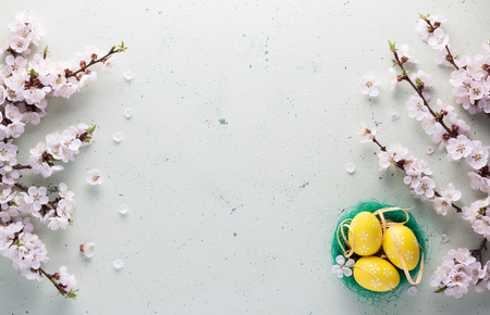 Easter concept. Flowering branches, a nest with bright colored eggs 版權商用圖片