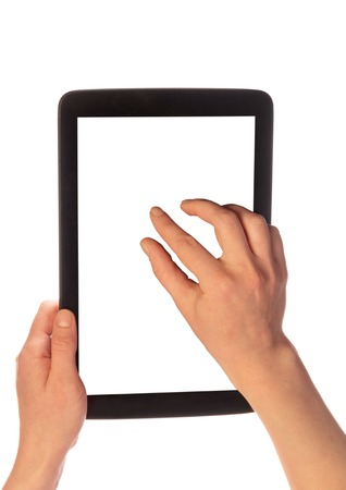 Female hands magnify tablet pc with white screen clipping path 版權商用圖片