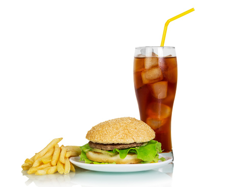 Fast food. Juicy yummy burger, fries and refreshing drink isolated on white background