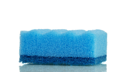 Blue bright sponge for washing dishes isolated on white background