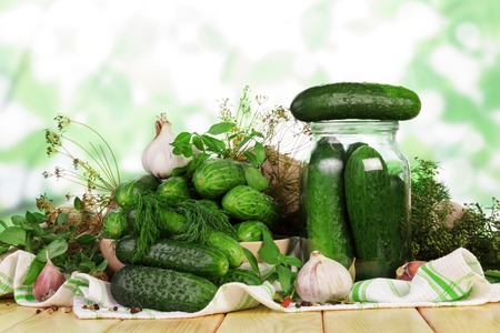 Process of preservation of fresh cucumbers in jars for winter supplies 版權商用圖片