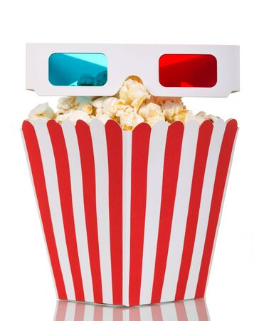 A large square box full of popcorn-and 3D-glasses isolated on white background.