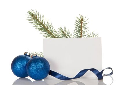 Pine branch, two Christmas balls-toys, blank card, isolated on white background 스톡 콘텐츠