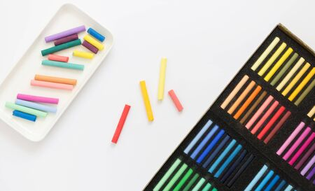 Multi-colored pastel for painting pictures on a light background