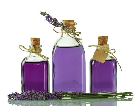 Bottles with lavender tincture, closed with corks isolated on white background