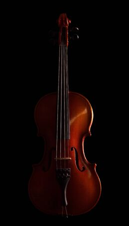 Violin isolated on black background Stock Photo