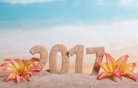 Christmas inscription 2017 in the sand decorated with tropical flowers on a background of the sea Standard-Bild - 142072268