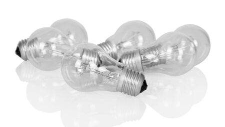 Several incandescent lamps are isolated on white background. Фото со стока