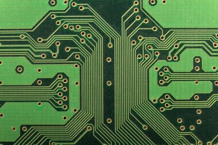 A printed circuit board presented in close-up