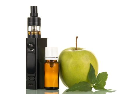 Electronic cigarette and bottle with smoking liquid, green apple, isolated on white background