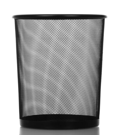 Black empty shopping basket for paper waste isolated on white background.