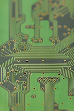 The old circuit Board, shown in close-up. Background