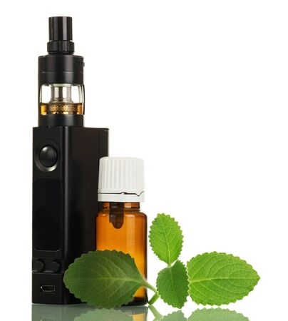 Aromatic liquid and electronic cigarette, mint leaf isolated on white background