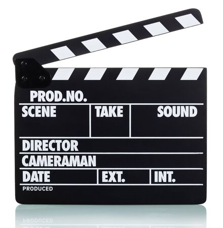 Clapper board isolated on white with clipping path included Stockfoto