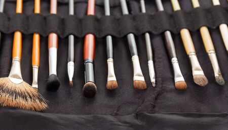 A set of cosmetic brushes in black case. Background.