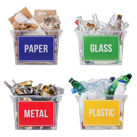Concept of sorting household vacations and recycling waste. Baskets with plastic, metal, glass and paper isolated on white background