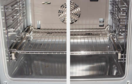 Household homework. Cleaning a dirty oven. Before and after Standard-Bild