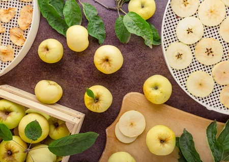 Procurement of dried fruits. Fresh apples cut into thin slices and dry fruits on a dark table