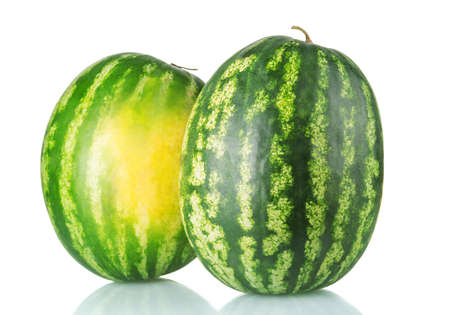 Two beautiful fresh tasty watermelons isolated on white background