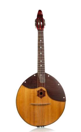Folk musical instrument domra. Stringed, plucked instrument isolated on white background