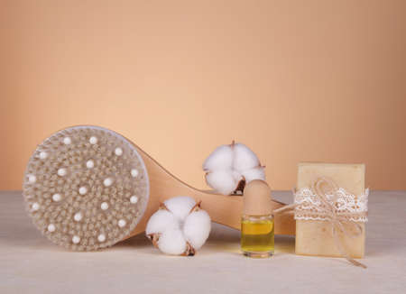 SPA. Relax. Body brush, handmade soap and aroma oil on a light background