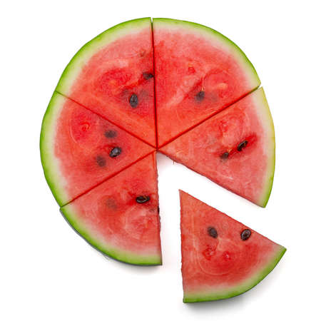 Top view. Circle of watermelon cut into triangular pieces isolated on white background Archivio Fotografico