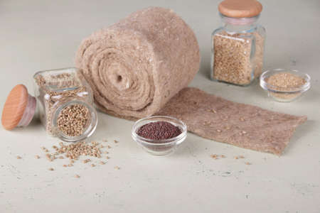 Hobby. Microgreens. Healthy food. Growing kit. Hemp seeds, wheat seeds, linen rugs Archivio Fotografico